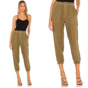 Joie linen vintage green olive pants XS